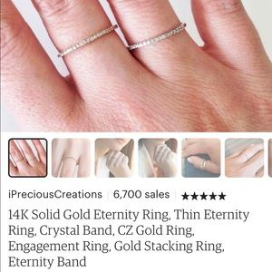 Jewelry - Solid Gold Eternity Ring Diamond Band